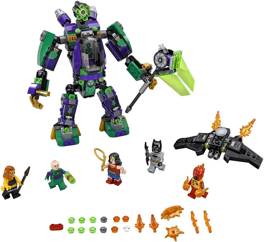Este conjunto incluye el robot Lex Luthor, Batman, Wonder Woman, Firestorm y Cheetah.